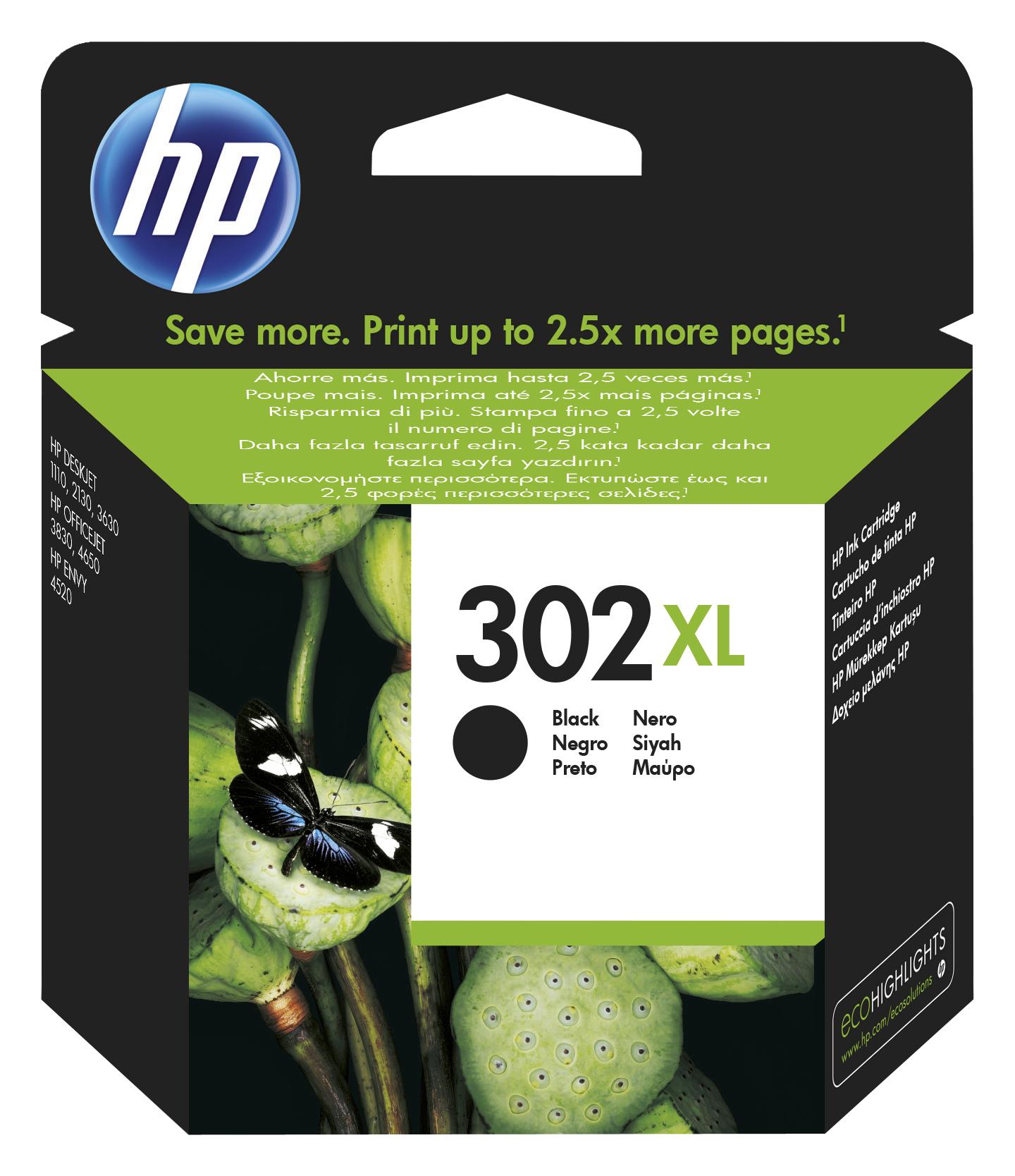 302XL inkjetcartridge zwart (480 afdrukken)