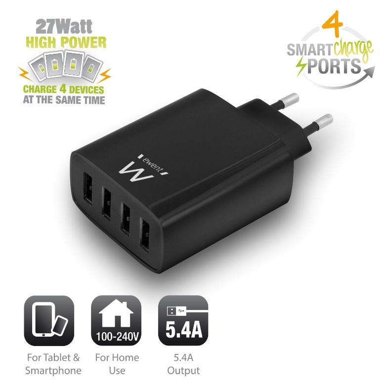 EW1314 Power adapter (27 Watt, 5,4 A, 4 USB output connectors)