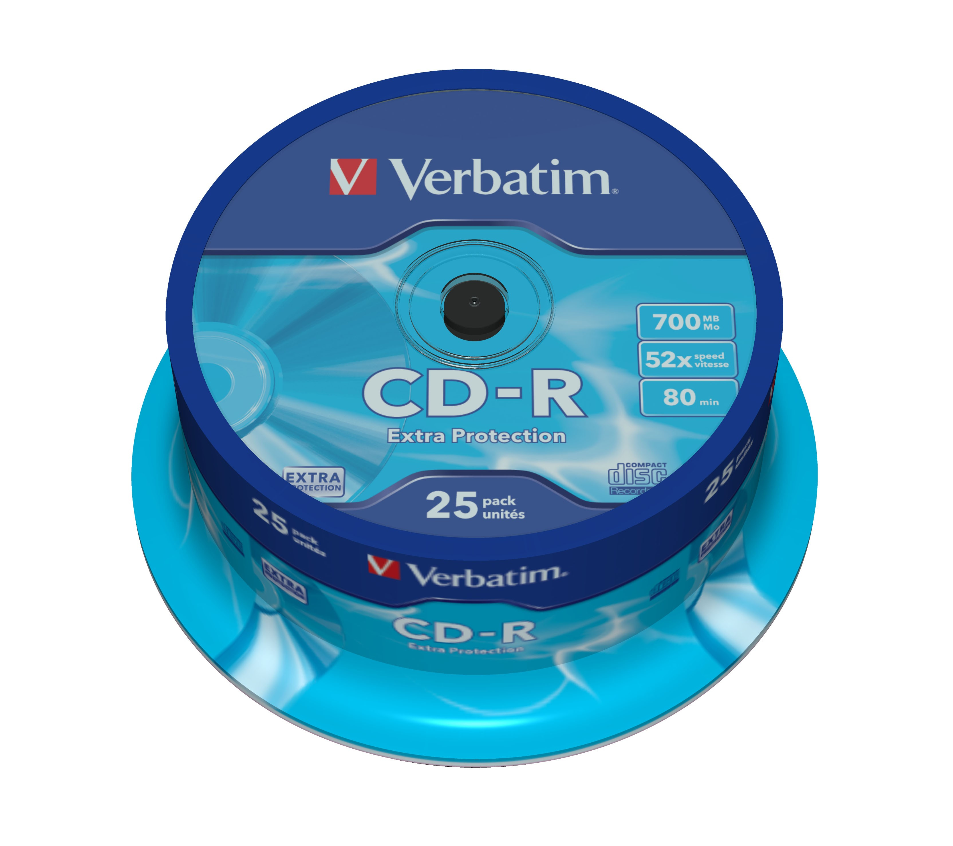 CD-R 700 MB, 52 speed, Datalife Extra Protection (25-spindel)