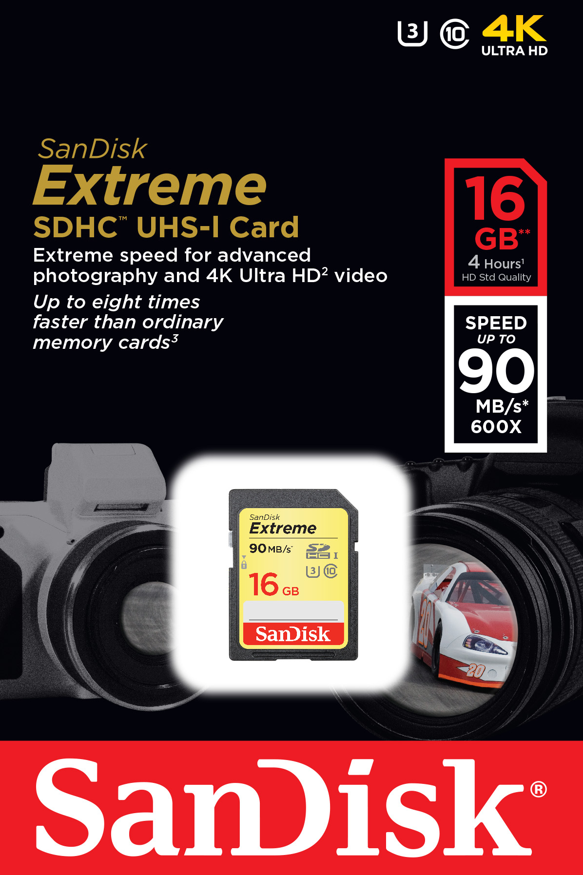 Extreme Flash memory card 16 GB (UHS Class 3, Class 10, SDHC UHS-I)
