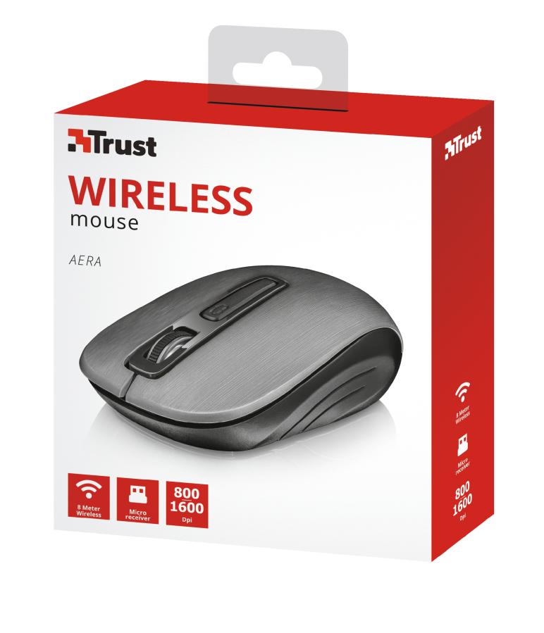 Aera Wireless Mouse (4 knoppen, grijs)