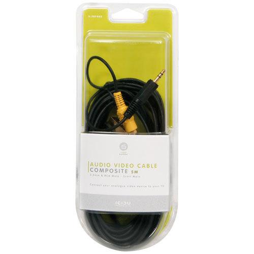 Video/Audio Composite kabel (5 meter, RCA M + 3,5 mm naar Scart, zwart)