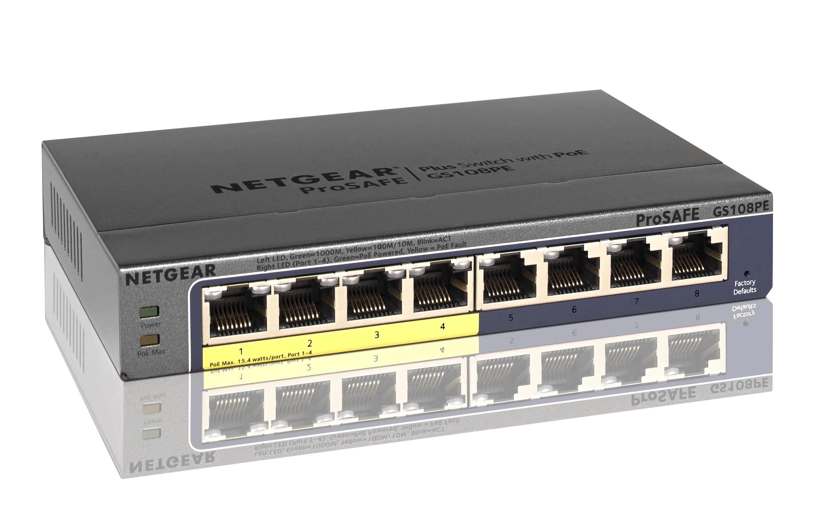 ProSafe Plus GS108PE Switch (unmanaged, 4 x 10/100/1000 PoE, 4 x 10/100/1000, desktop, wall-mountable, PoE)