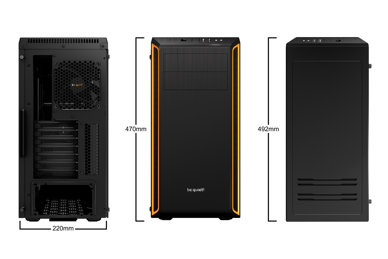 Pure Base 600 case (zwart/oranje, met venster)