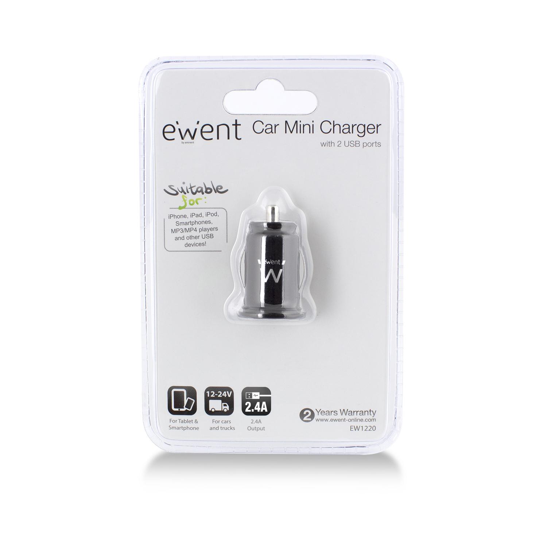 EW1220 Power adapter (car, 2,1 A, 2 output connectors, zwart)