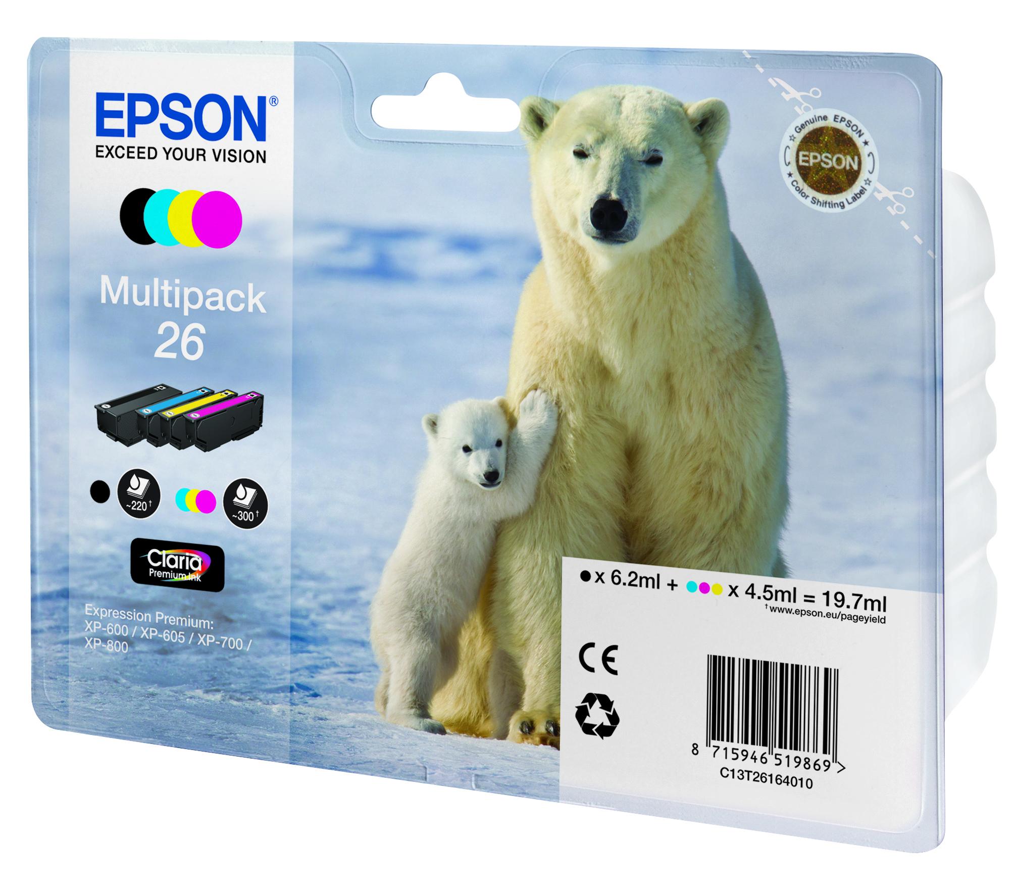C13T26164010 inkjetcartridges Multipack 26 (zwart, geel, cyaan, magenta)