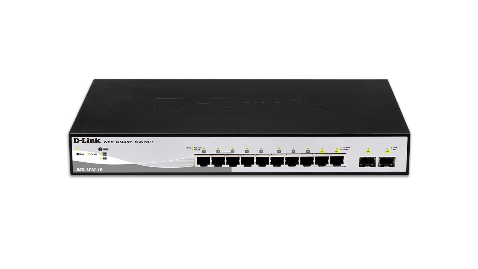 DGS-1210-10 Managed Switch (10 x 10/100/1000 + 2 x shared SFP, desktop, PoE)