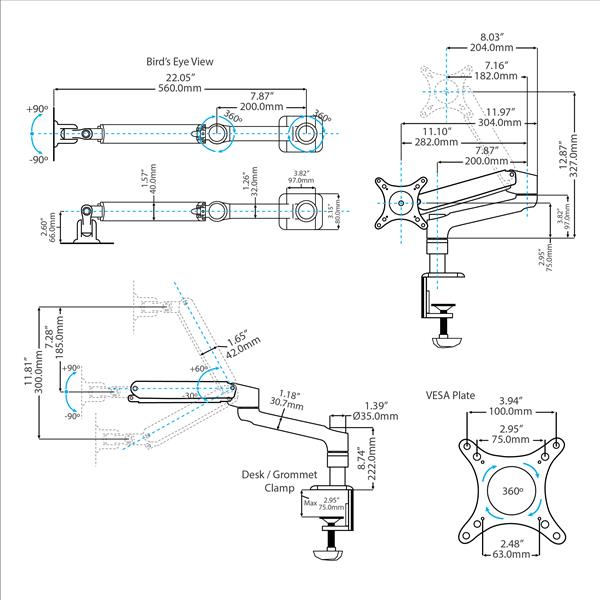 Articulating Monitor Arm Grommet / Desk Mount (Gas-Spring Height Adjust & Cable Management)