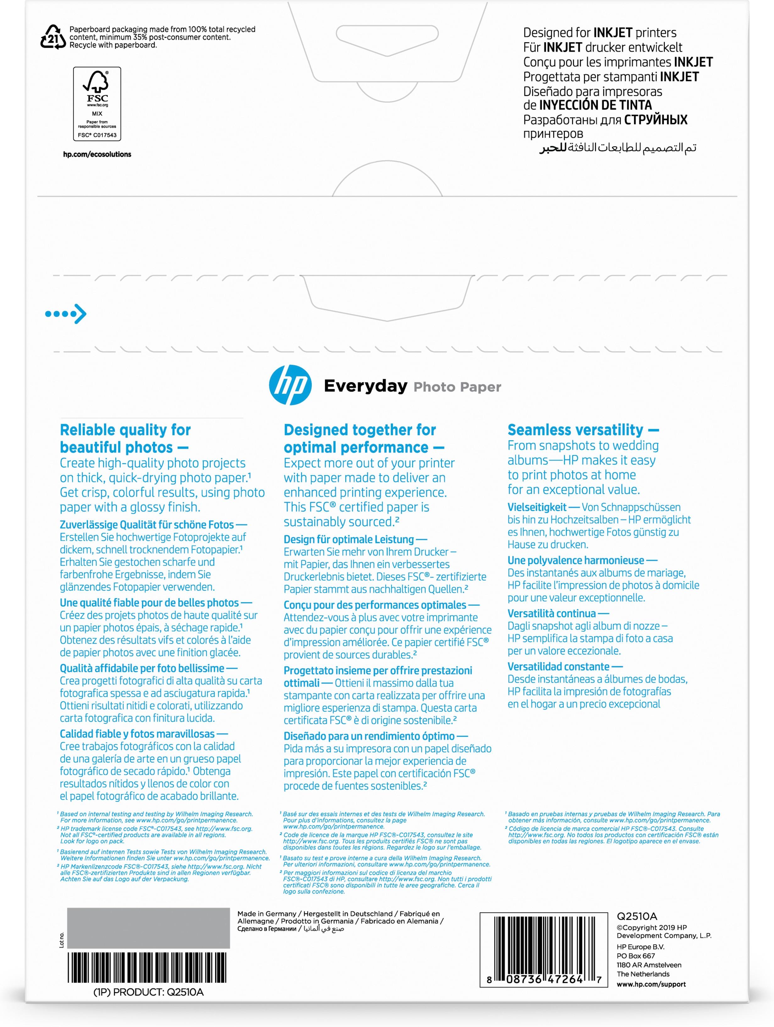 Q2510a Everyday Photo Paper (semi-glossy, 170 g/m², 100 vellen A4)