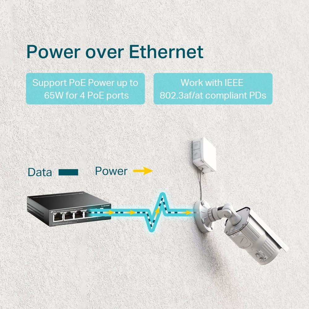 TL-SG1005P Switch (unmanaged, 4 x 10/100/1000 PoE + 1 x 10/100/1000, 56 Watt)