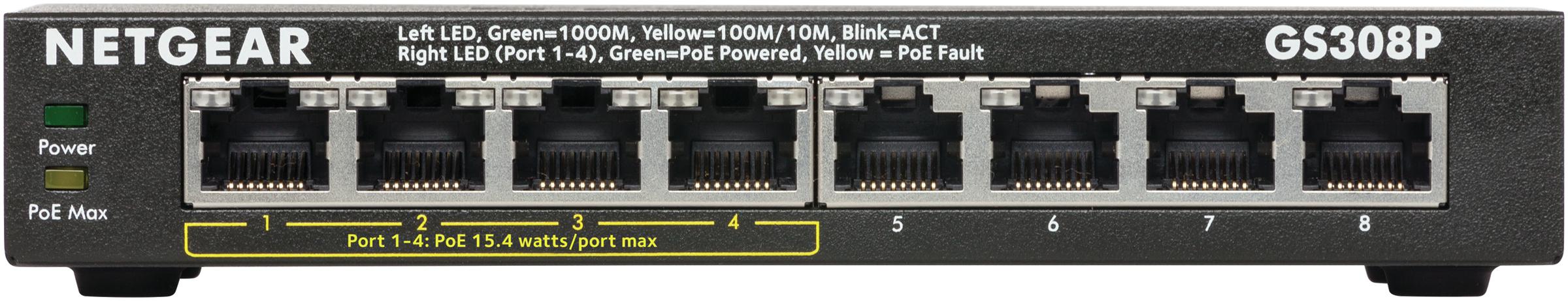 GS308P Switch (unmanaged, 4 x 10/100/1000 PoE + 4 x 10/100/1000, desktop, wall-mountable, PoE)