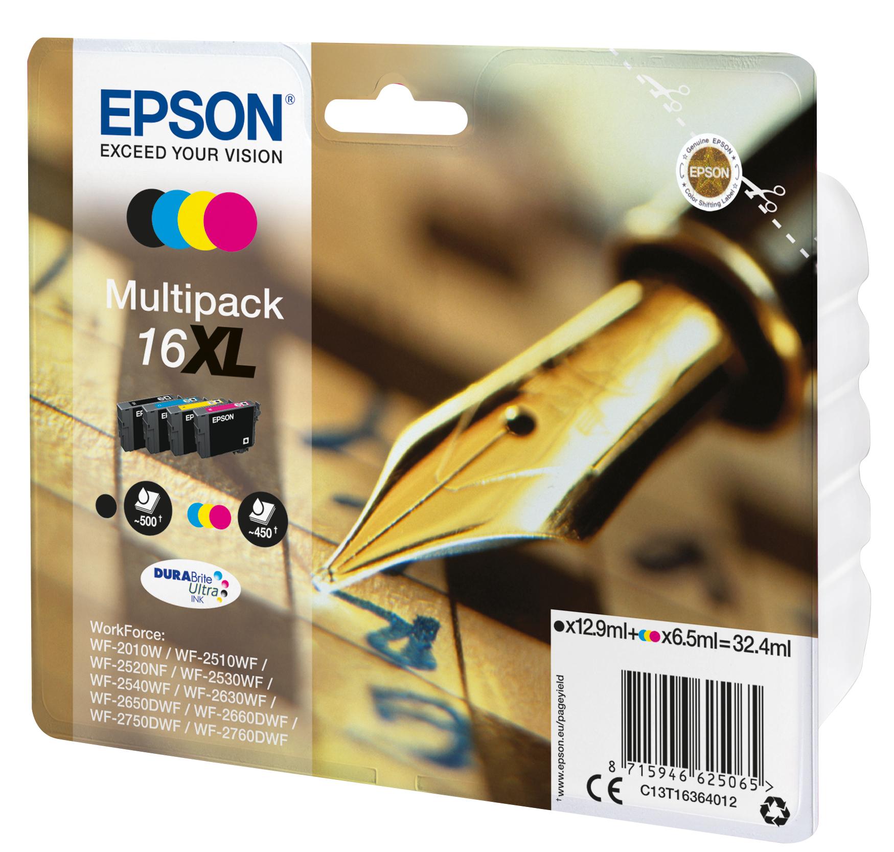 T1636 inkjetcartridges 16XL multipack (zwart, cyaan, geel en magenta)