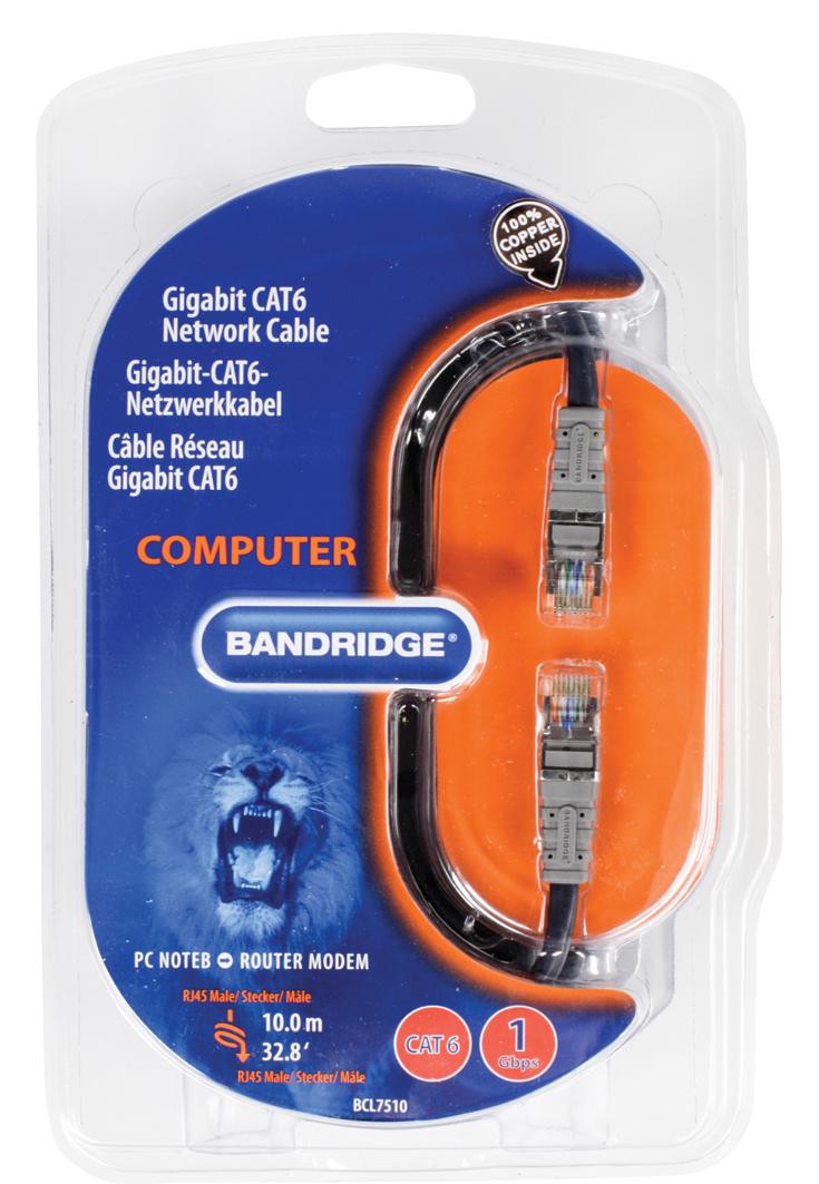 Gigabit Cat6 Netwerkkabel (10 meter, zwart)