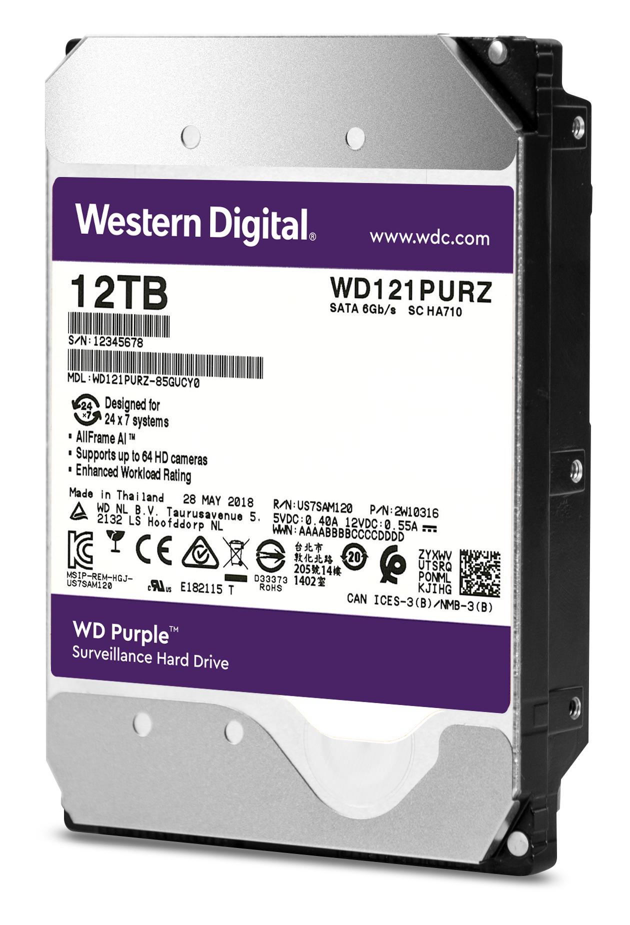 12.000 GB WD121PURZ WD Purple Surveillance Hard Drive (SATA 6 Gb/s, 7200 rpm, 256 MB cache)