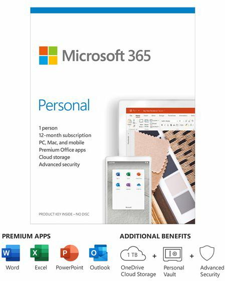 Microsoft 365 Personal (15 maanden bij aanschaf van nieuwe computer, 1 gebruiker, Windows, Mac, Android, iOS, NL)