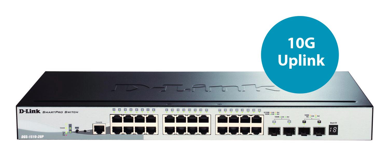 SmartPro DGS-1510-28P Switch (L3, managed, 24 x 10/100/1000 PoE+, 2 x Gigabit SFP, 2 x 10 Gigabit SFP+, desktop, rack-mountable, PoE+)