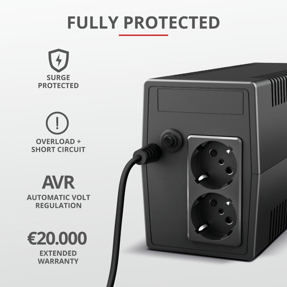 Paxxon 800VA UPS (2 standard wall power outlets)