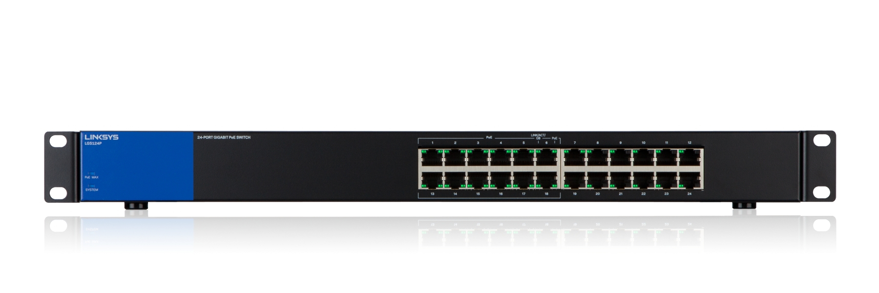 LGS124P Switch (unmanaged, 12 x 10/100/1000 poorten PoE + 12 x 10/100/1000 poorten, rack-mountable, PoE+)