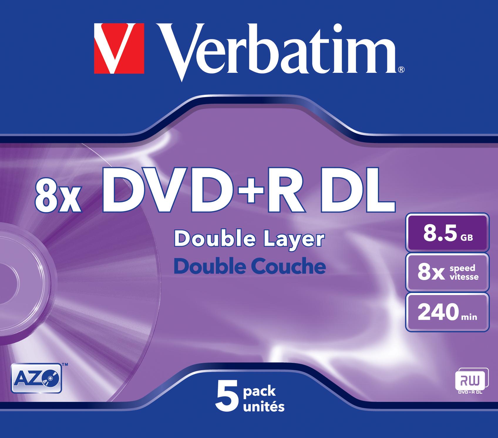 DVD+R DL 8,5 GB 8 speed, AdvAZO (5-pack jewelcase)