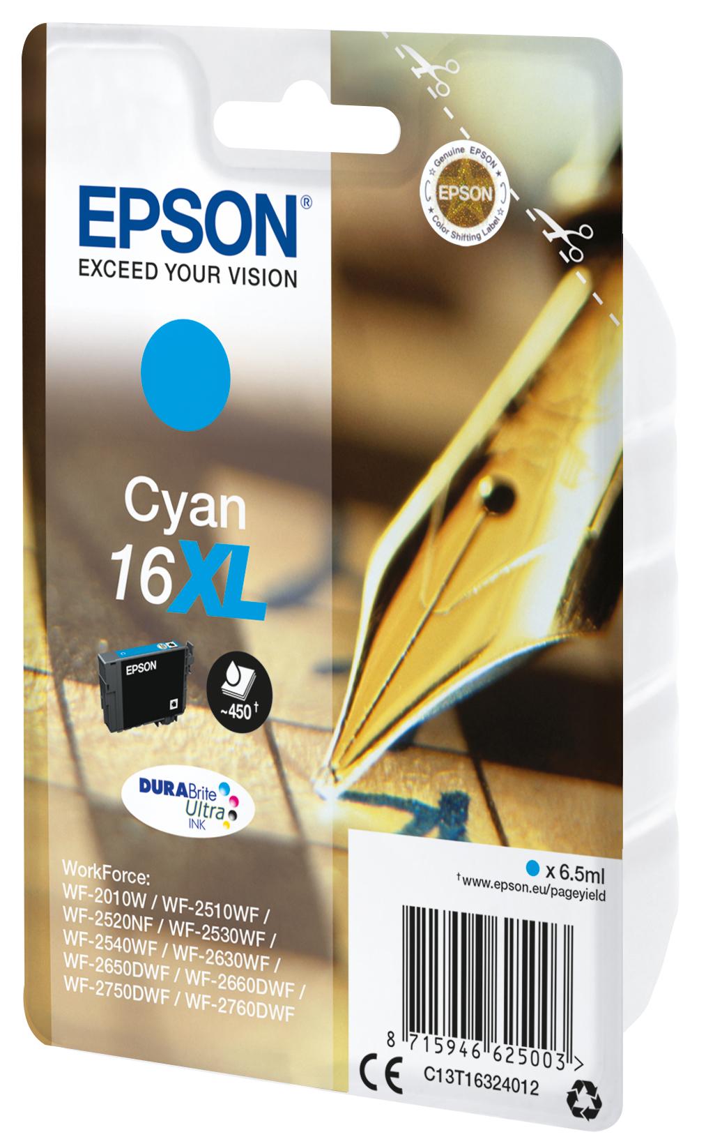 T1632 inkjetcartridge 16XL cyaan (450 afdrukken)