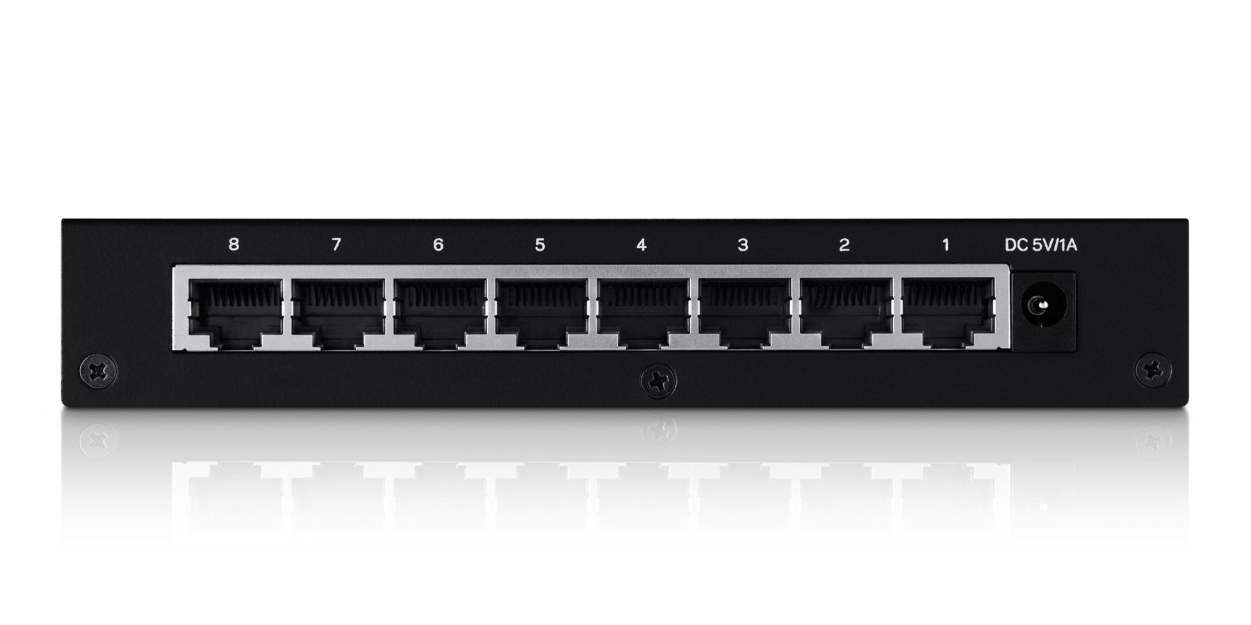 LGS108 Switch (unmanaged, 8 x 10/100/1000 poorten, desktop)