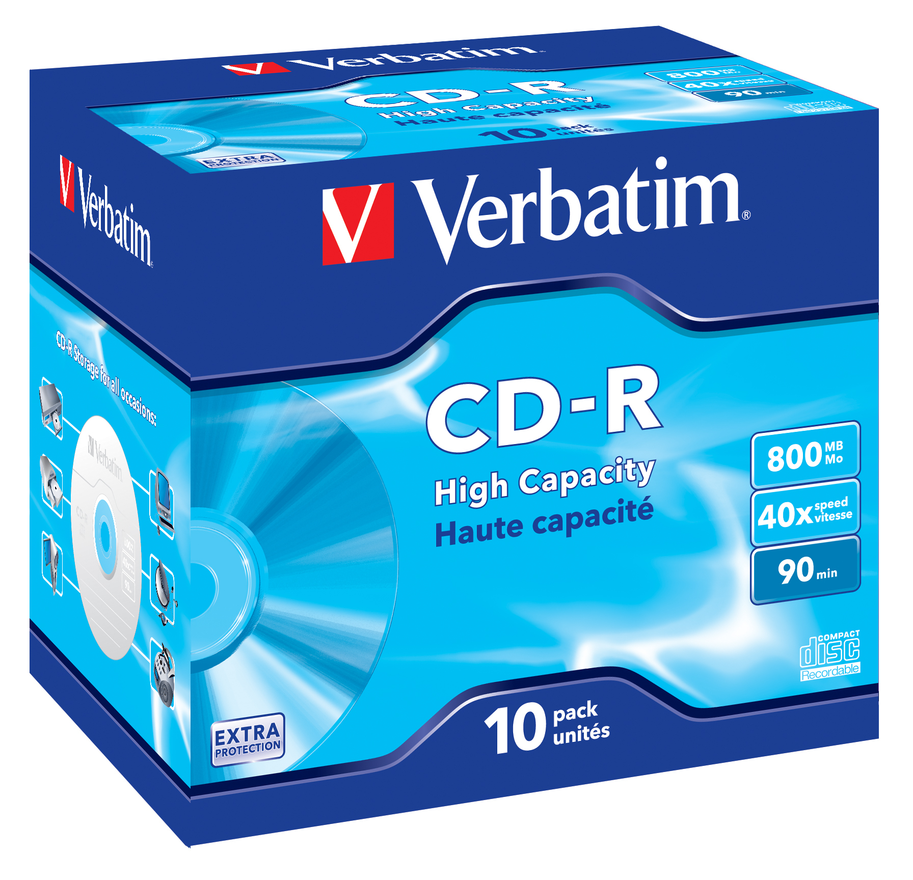 CD-R 800 MB, 40 speed (10-pack jewelcase)