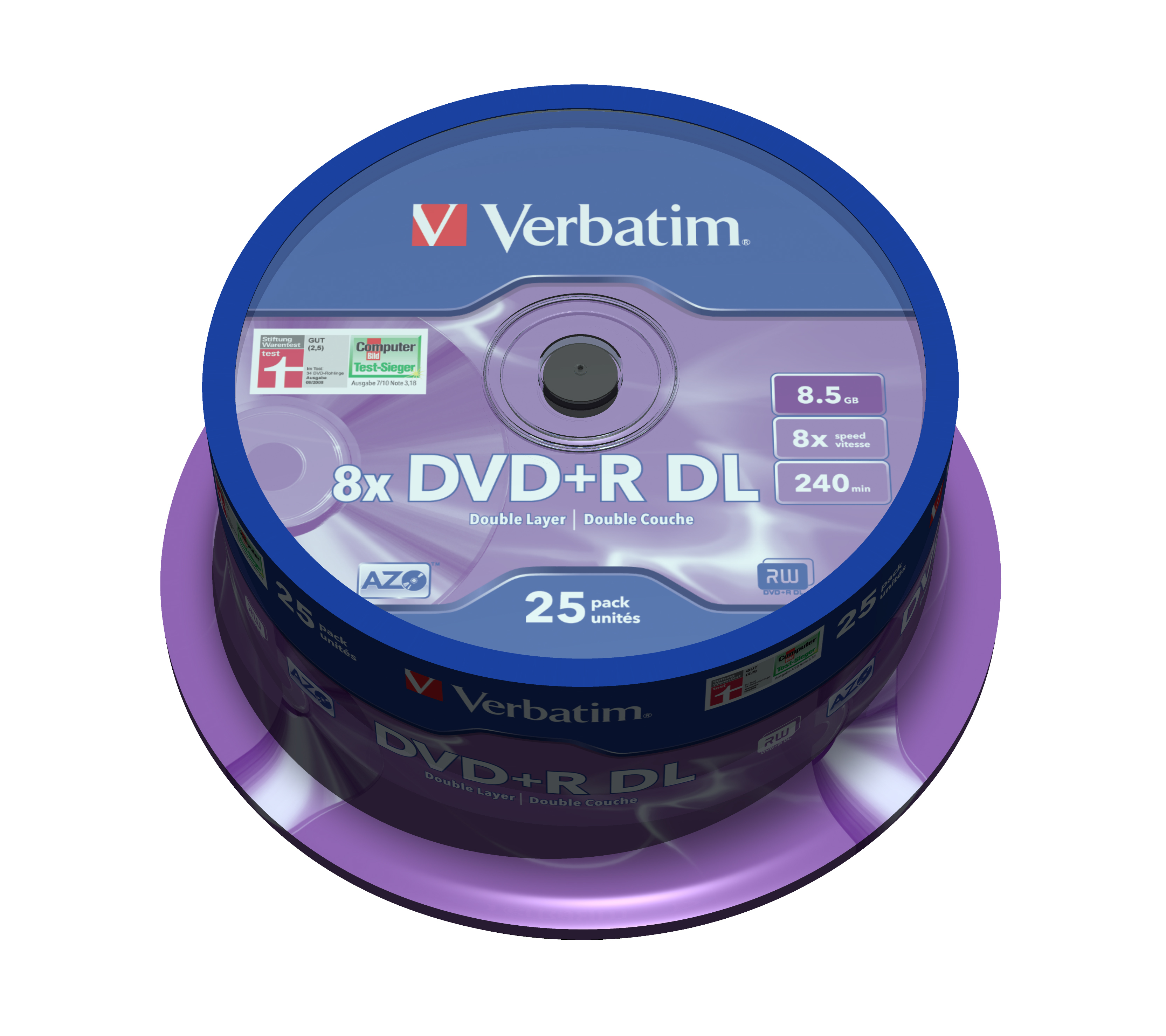 DVD+R 8,5 GB Double Layer, 8 speed (25-spindel)