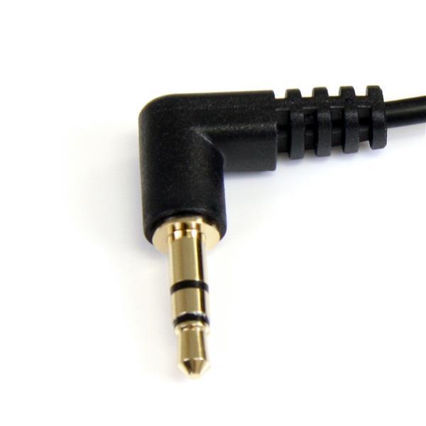 3,5 mm stereo audiokabel met twee rechte hoeken M/M (90 cm, zwart)