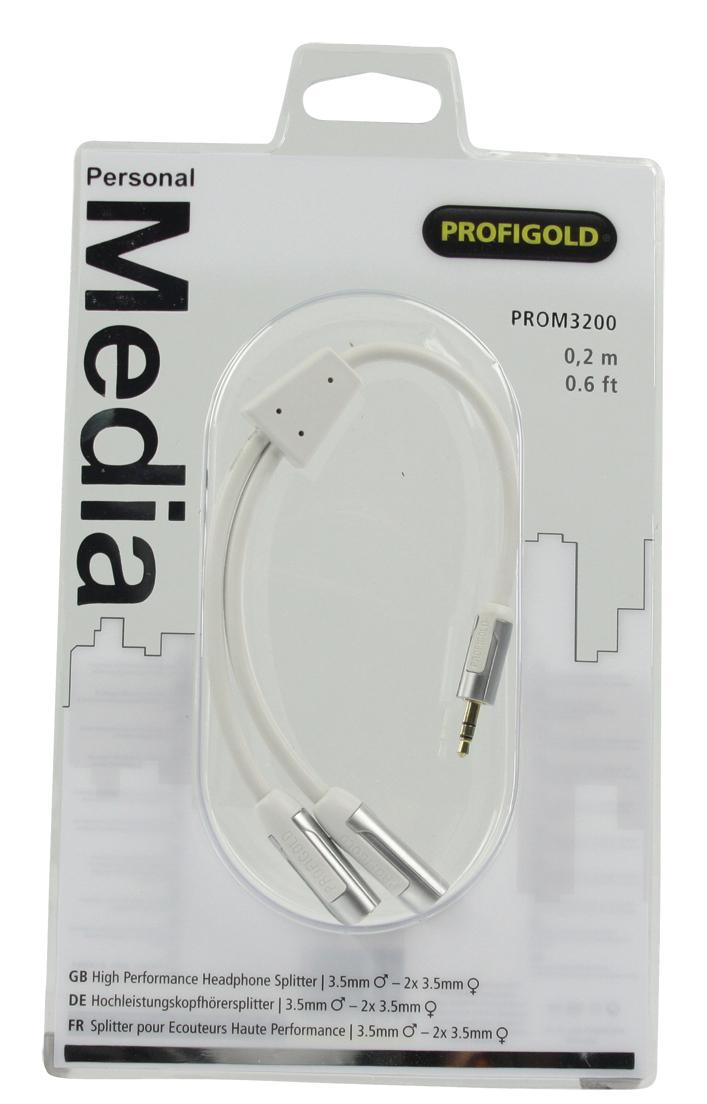 PROM3200 High Performance Headphone Splitter : 3,5 mm M naar 2 x 3,5 mm F (wit, 20 cm)