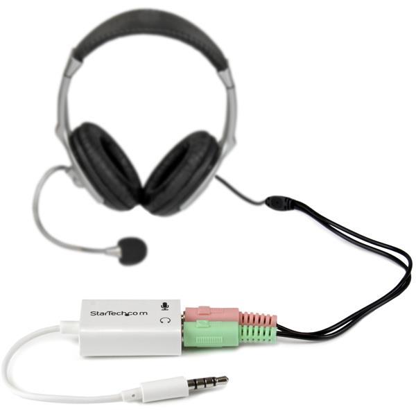 Audio adapter : 3,5 mm M naar 2 x F (4 posities, hoofdtelefoon/microfoonsplitter)