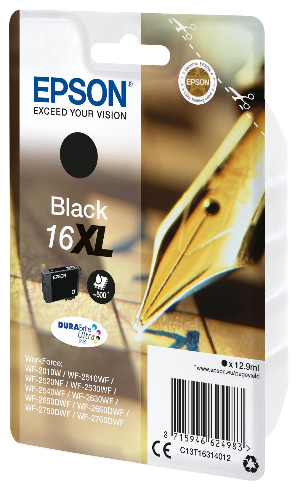 T1631 inkjetcartridge 16XL zwart (500 afdrukken)