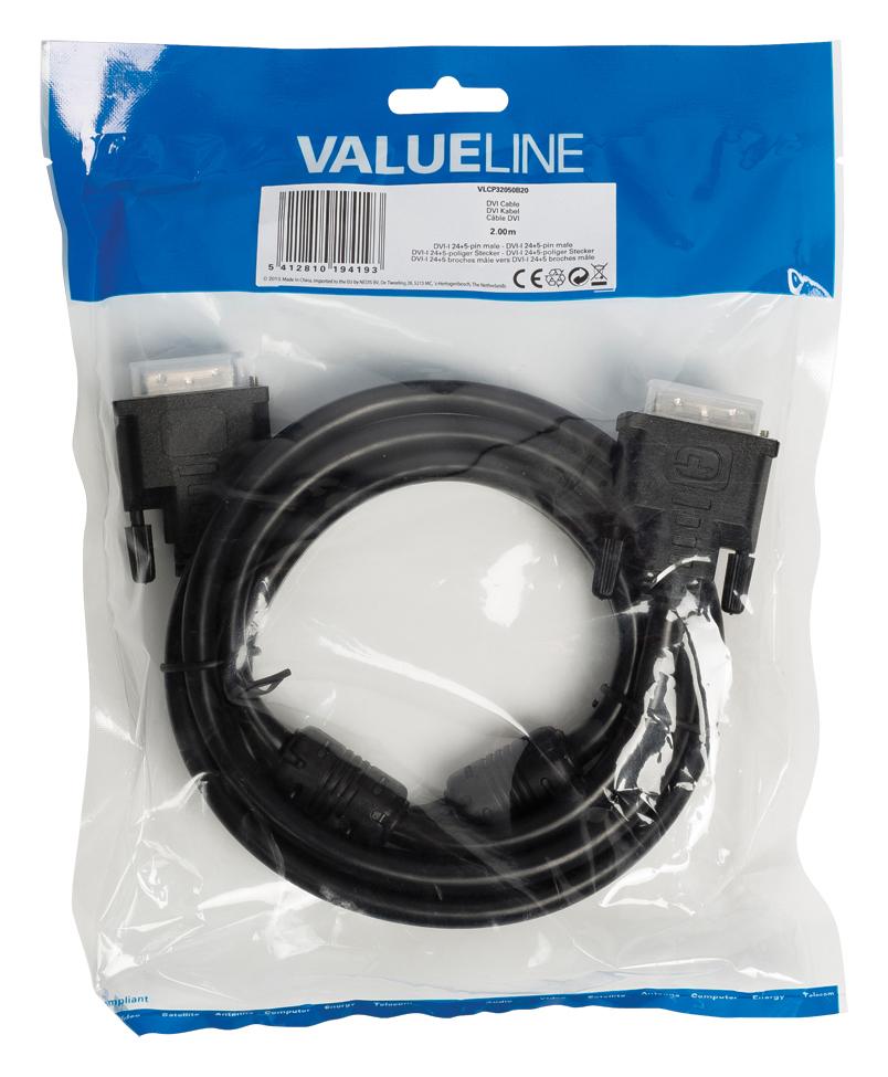 DVI-kabel : DVI-I 24+5 pin M/M (2 meter, zwart)