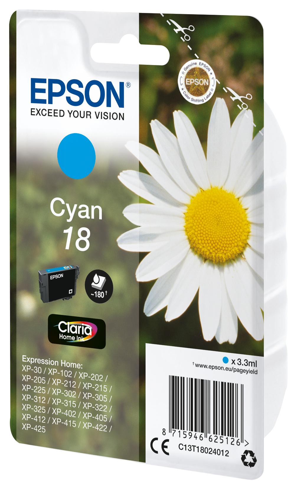 T1802 inkjetcartridge cyaan (180 afdrukken)