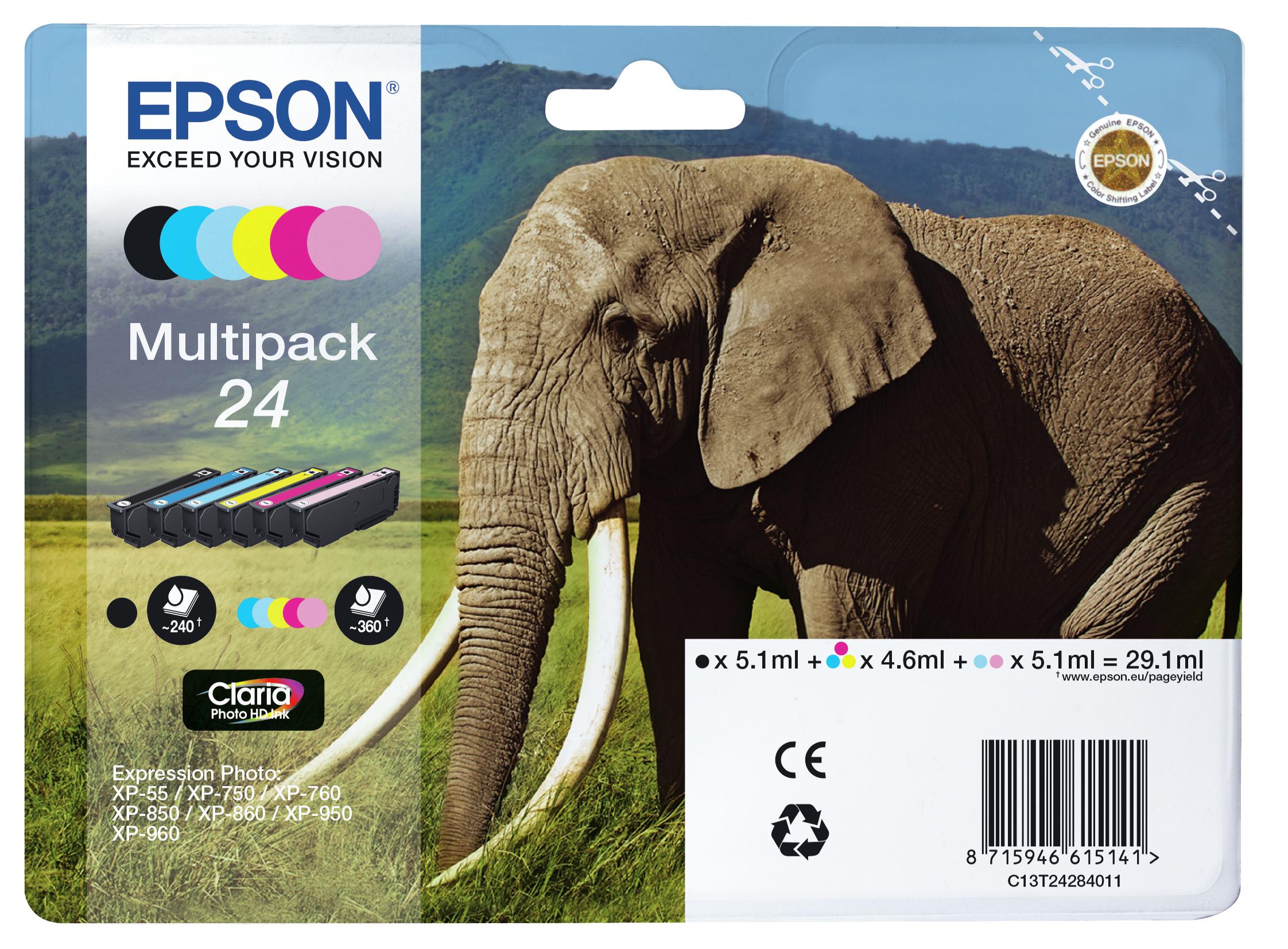 T2428 inkjetcartridges multipack nr. 24 (29,1 ml, zwart, geel, cyaan, magenta, licht magenta, licht cyaan)