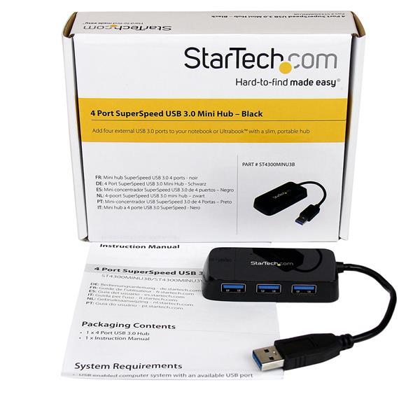 Portable 4-poort SuperSpeed Mini USB 3.0 Hub (zwart)