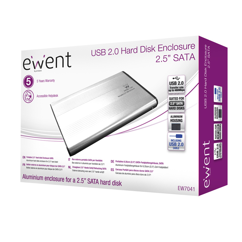 "EW7041 Storage enclosure (2,5"", SATA 3 Gb/s, 300 MBps, USB 2.0)"
