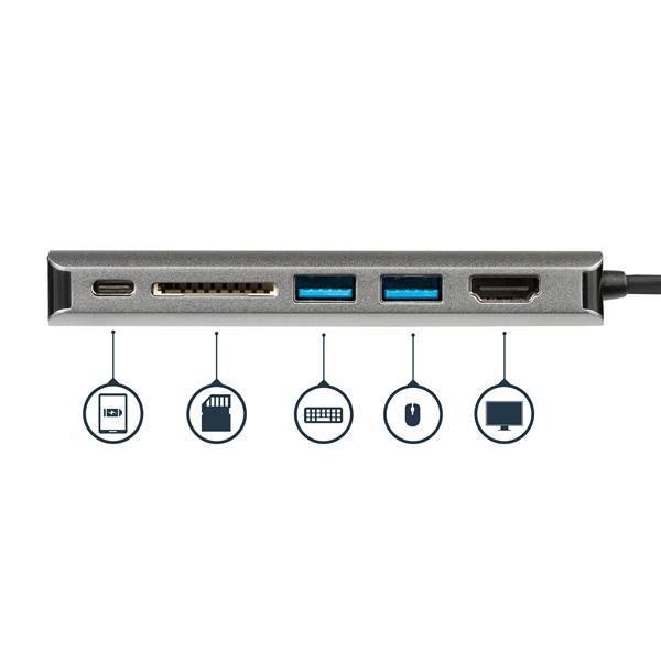 USB-C Multiport Adapter : SD card reader + 4K HDMI, GBLAN en 2 x USB 3.0