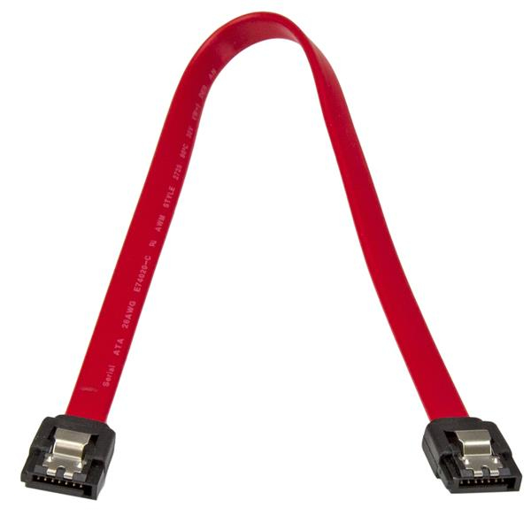 Latching S-ATA kabel straight M/M (30 cm, rood)