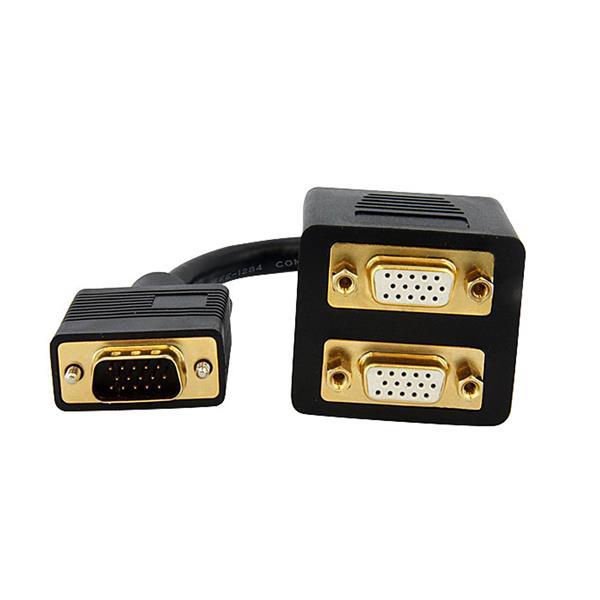 VGA-splitter M/F (30 cm, zwart)