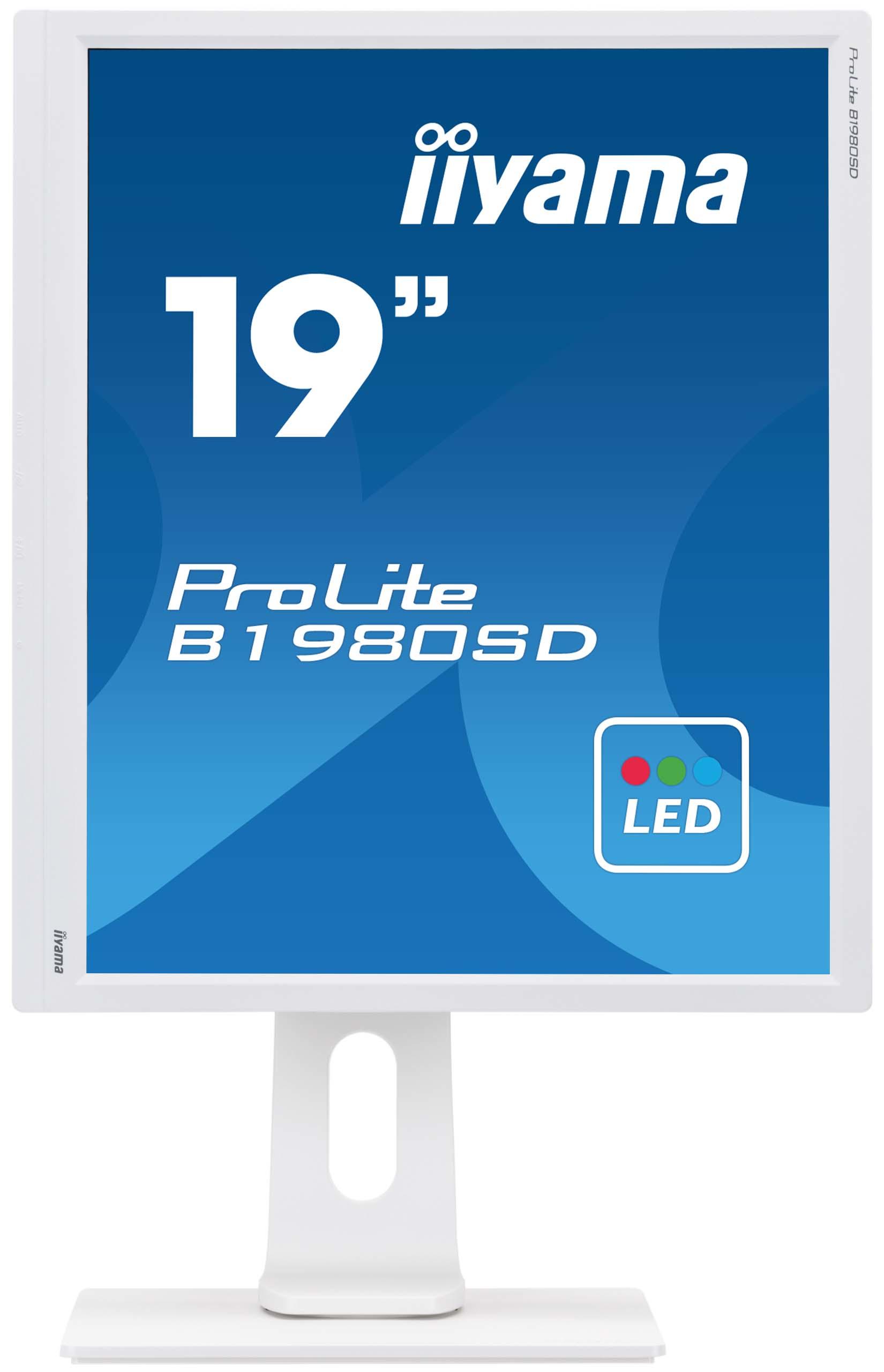 """B1980SD-W1 LED 19"""", 1280 x 1024, TN panel, pivot, speakers, D-sub, DVI-D, 5.000.000:1, 5 ms, wit"""