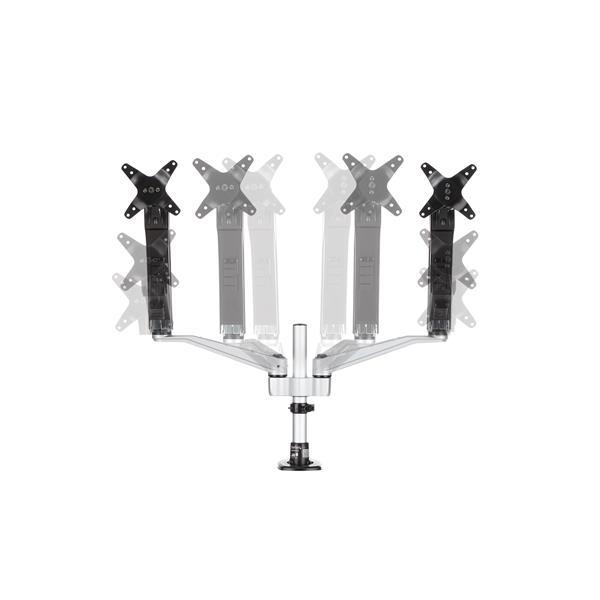 """Dual Monitor Arm One-Touch Height Adjustment (voor schermen tot 30"""", zwart/zilver)"""