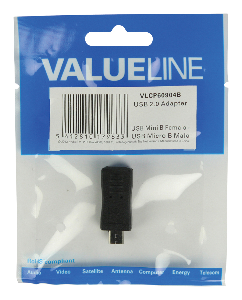 USB 2.0 adapter : micro B M naar mini B F