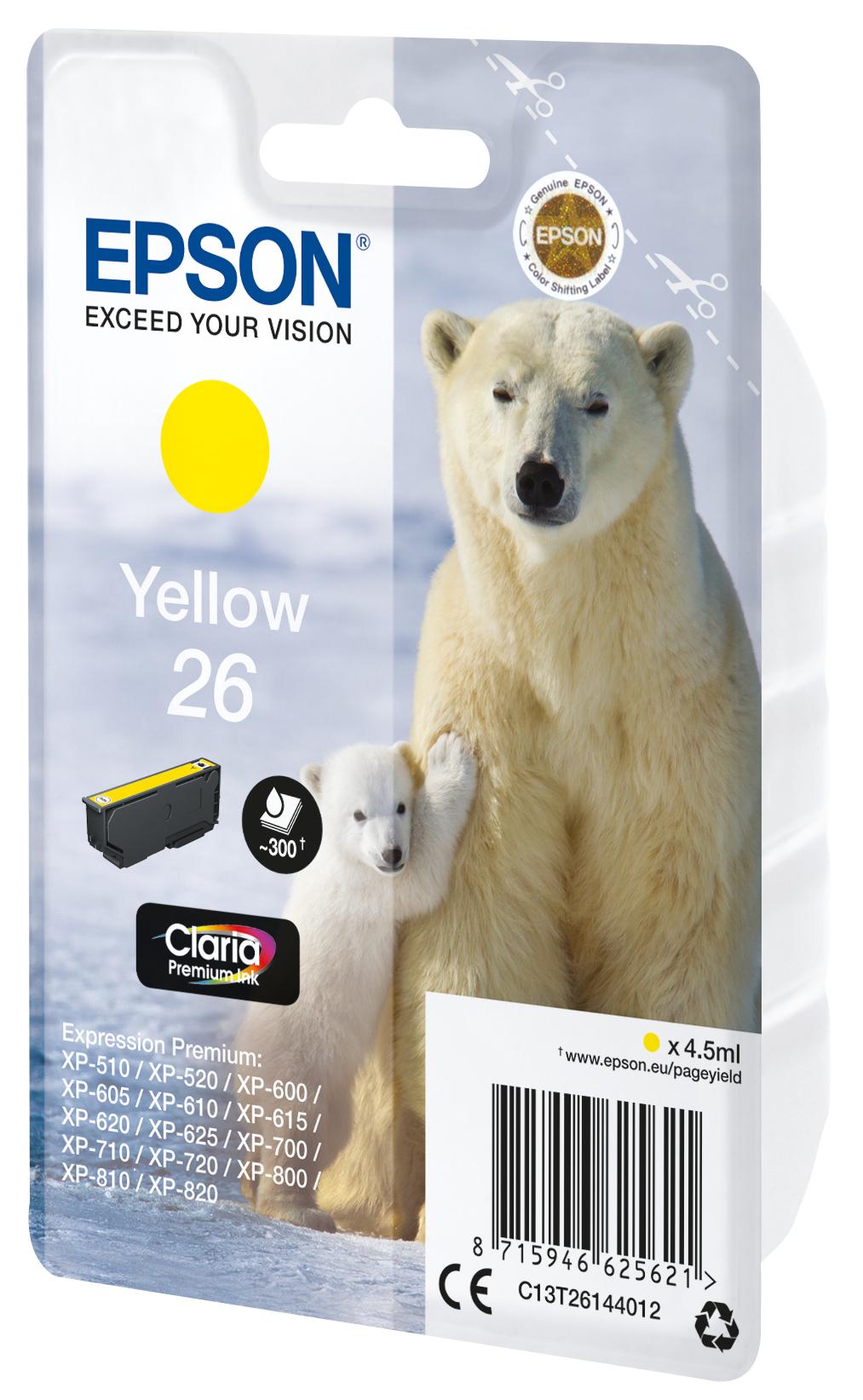 T2614 inkjetcartridge 26 geel (300 afdrukken)