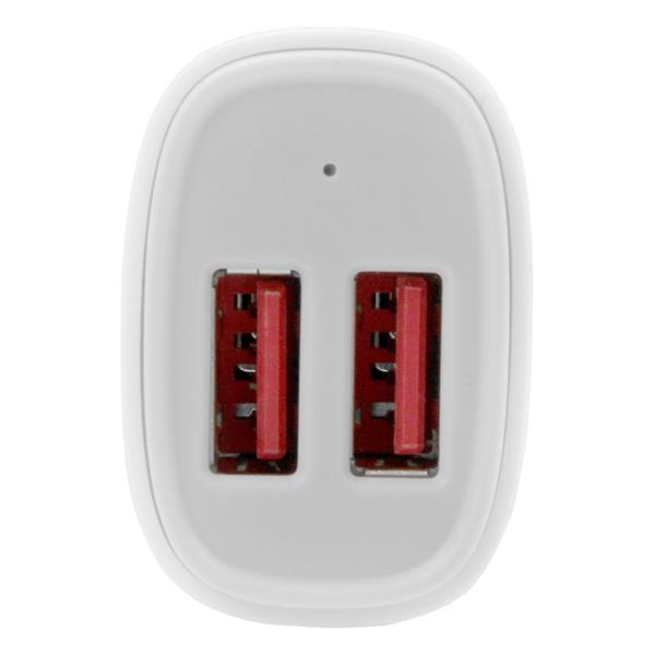 Dual-Port USB Car Charger (24 Watt, 4,8 A, wit)