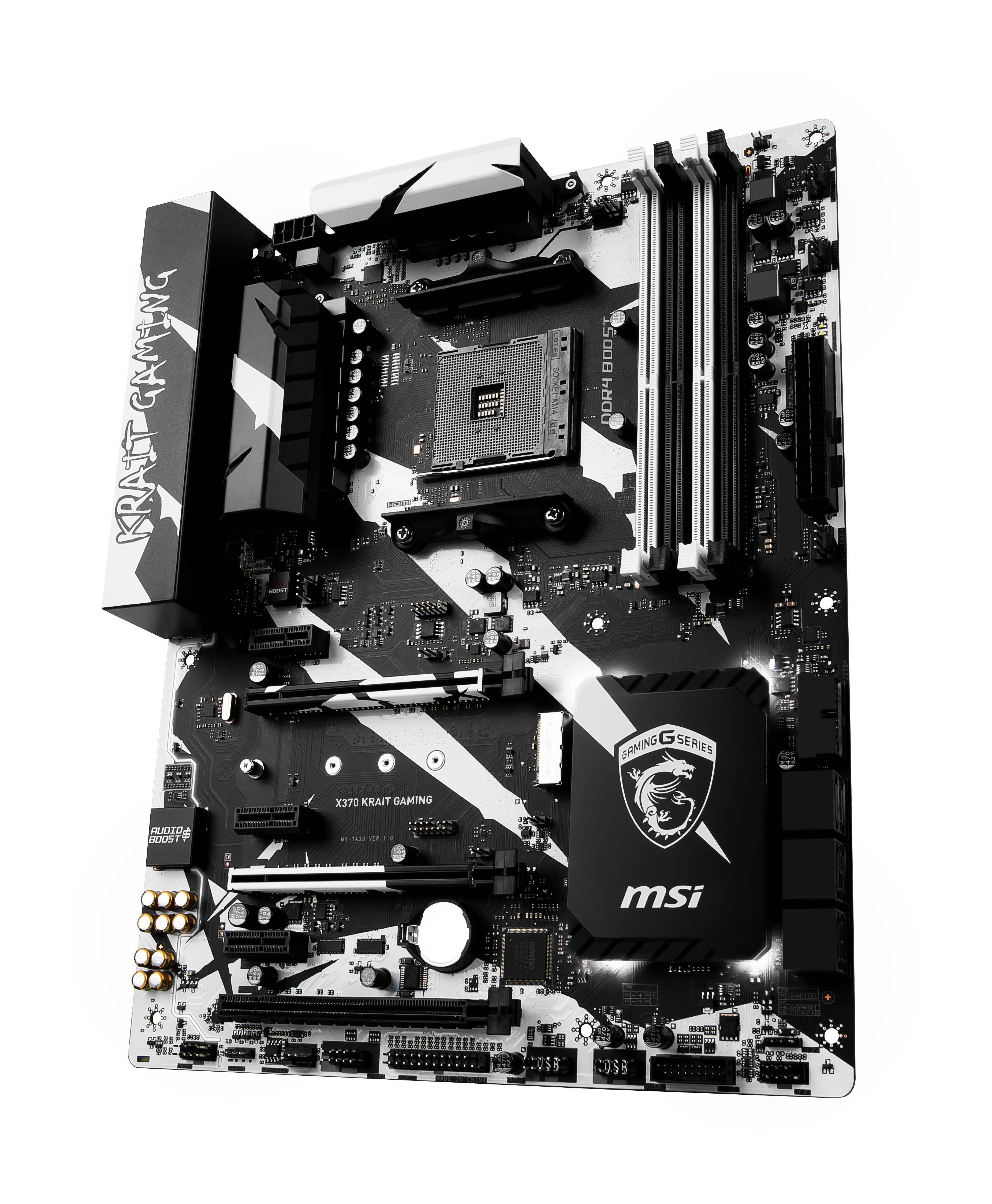 Socket AM4 : X370 KRAIT GAMING (ATX, AMD X370, USB 3.1 Gen 1, USB-C Gen2, USB 3.1 Gen 2, Gigabit LAN, onboard graphics, HD Audio 8-channel)